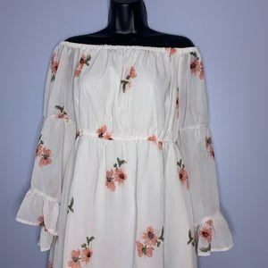 Hint of Blush Dresses - Off the shoulder pink floral chiffon dress
